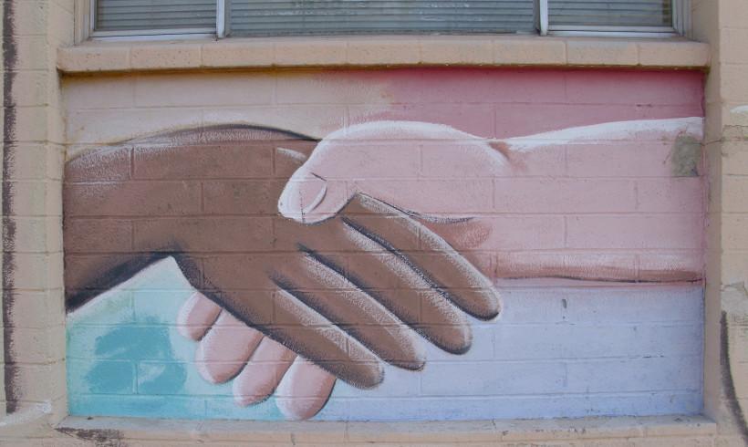 Mural handshake (Flickr classic_film)