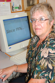 Woman in front of a computer