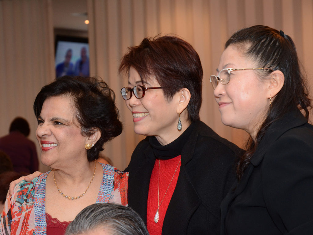 Senator Mobina Jaffer, Teresa Wat, and friend