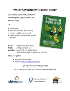 "Event poster for ""What's wrong with being poor?"" with Penny Goldsmith"