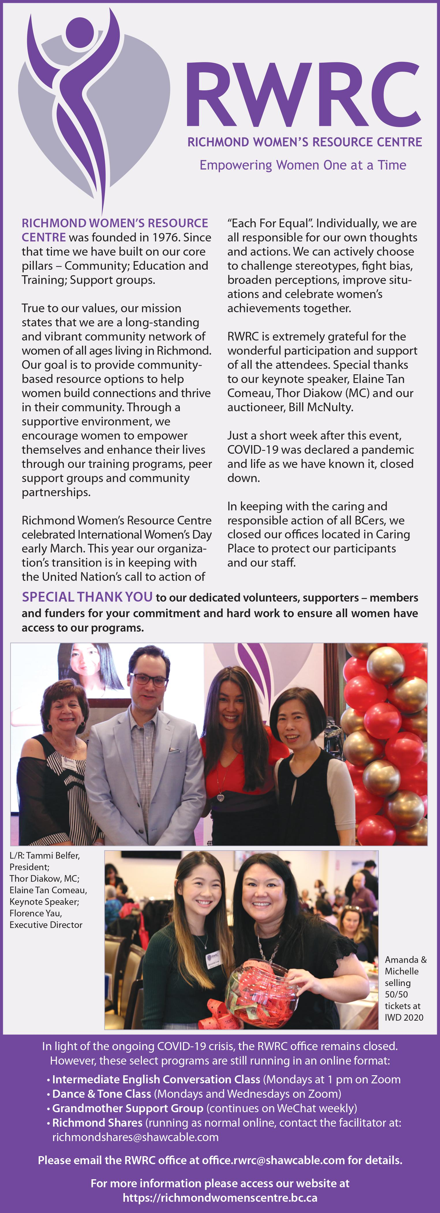 Richmond News blurb about RWRC IWD event