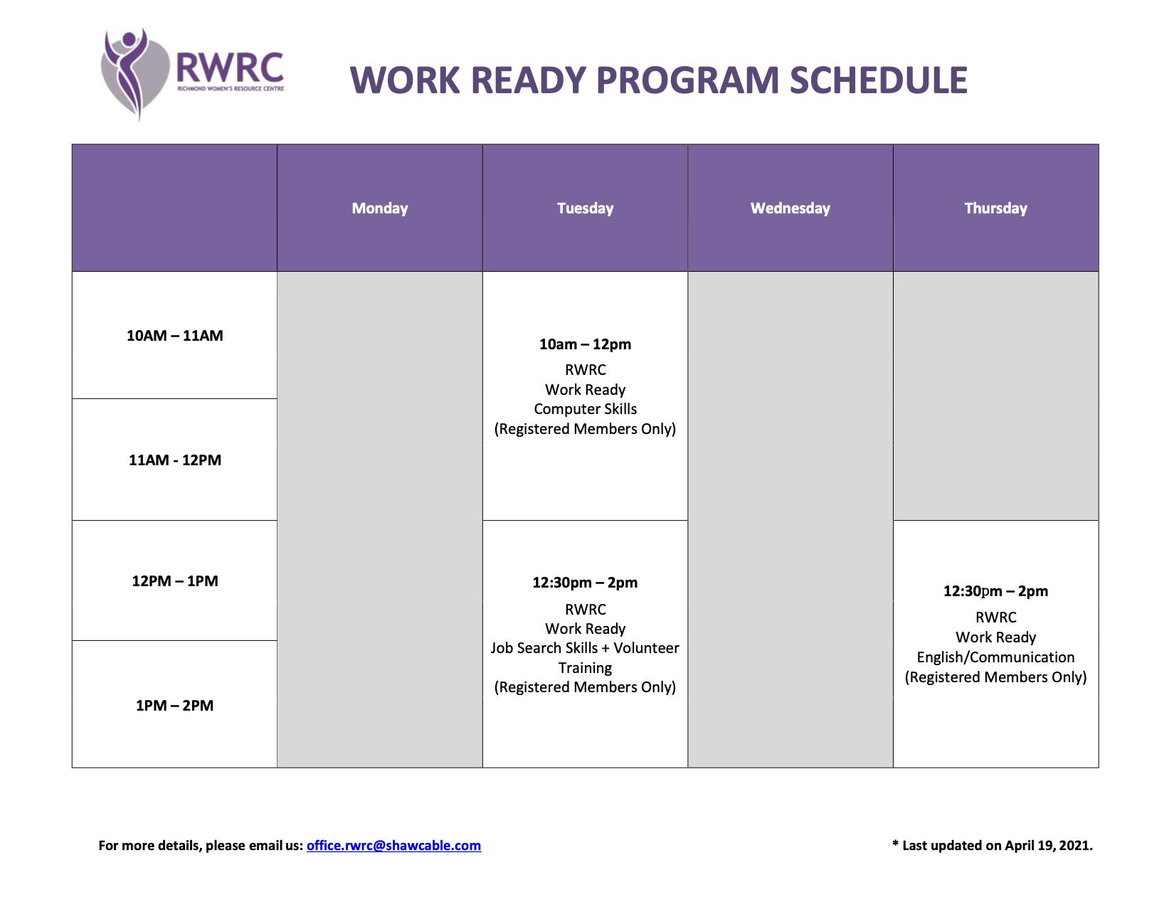 Work Ready Weekly Schedule